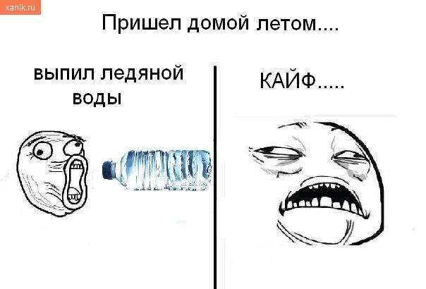 Пришел домой летом.. выпил ледяной воды.. Кайф