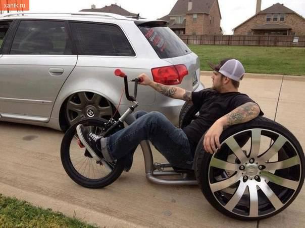 Ну или такой Велосипед с автомобильными колесами